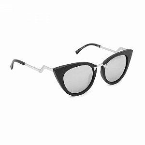 Óculos Preto Gatinha Fashion Espelhado