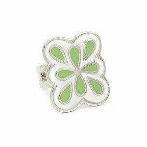 Anel Regulável Prateado com Flor Verde
