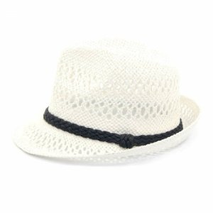 Chapéu Panamá Branco com Trança Marrom