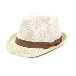 Chapéu Panamá com Renda e Laço Marrom