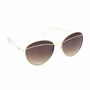 Óculos de Sol Dourado com Lente Marrom