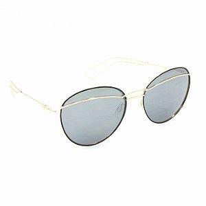 Óculos de Sol Dourado com Lente Espelhada