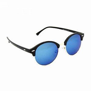 Óculos de Sol Estilo Ray Ban Preto com lente Azul