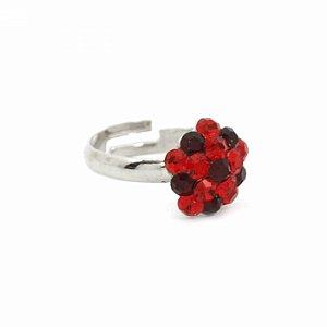 Anel Regulável Prateado Pequeno com Flor de Strass Vermelho