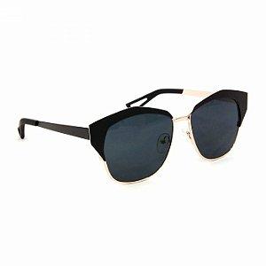 Óculos Feminino Gatinha Preto e Dourado