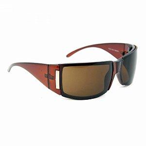 Óculos de Sol Marrom com Detalhe Prateado