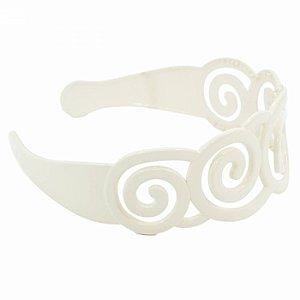 Tiara Branca Larga de Espiral