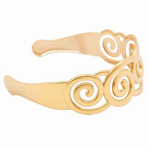 Tiara Dourada Larga de Espiral