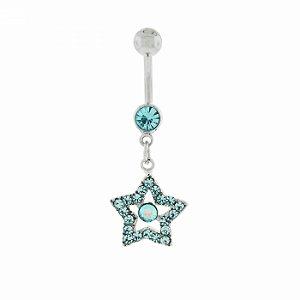 Piercing de Umbigo Prateado de Estrela com Strass Azul