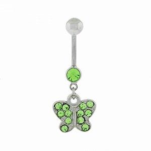 Piercing de Umbigo Prateado com  Borboleta Verde