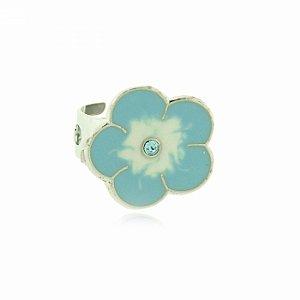 Anel Regulável Prateado com Florzinha Azul