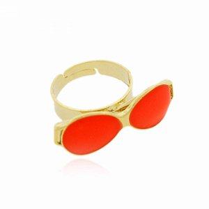 Anel Regulável Dourado de Óculos cor Laranja Neon