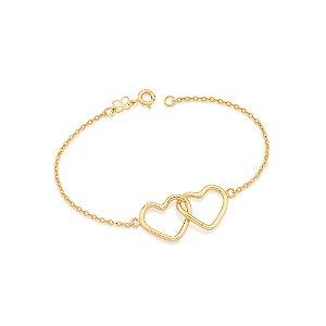 Pulseira formada por fio elo oval diamantado corações Rommanel