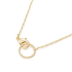 Gargantilha formada por fio elos longos diamantados Rommanel