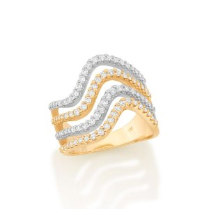 Maxi anel formado por 4 aros ondulados Rommanel
