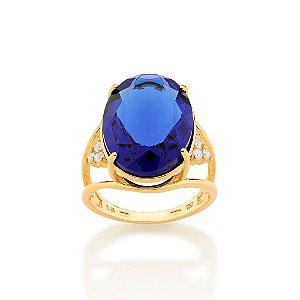 Maxi anel com laterais vazadas e cravejadas 6 zircônias Azul Rummanel