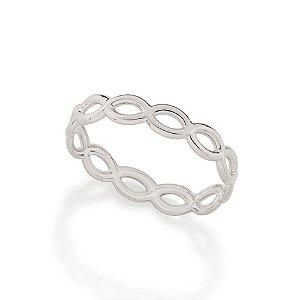 Anel skinny ring formado por aro em formato de infinitos Rommanel