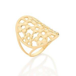 Maxi anel oval formado por flores intercaladas Rommanel
