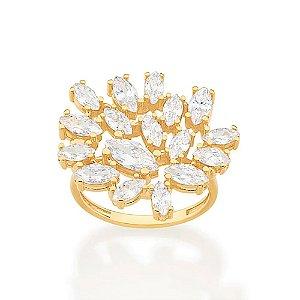 Maxi anel luxo cravejado por 11 zircônias navetes Rommanel