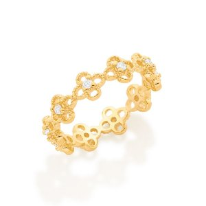 Anel aro formado por mini flores cravejadas por 10 zircônias Rommanel
