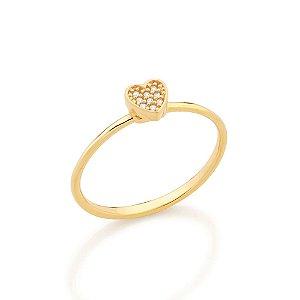 Aanel skinny ring composto por coração cravejado por 9 zircônias Rommanel