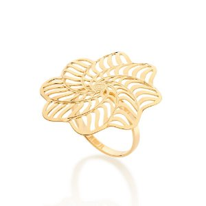 Maxi anel formado por flor estilizada Rommanel