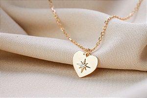 Colar coração Star prata 925 banho ouro