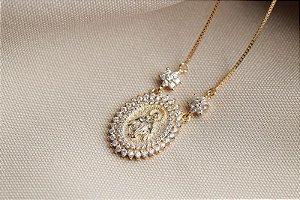 Colar Nossa Senhora das Graças prata 925 banho ouro