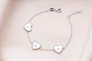Pulseira 3 corações madrepérola prata 925