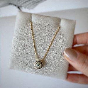 Colar olho grego microzirconias prata 925 banho ouro 18k