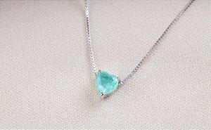 Colar coração esmeralda colombiana prata 925