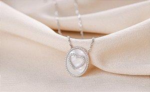 Colar coração madrepérola oval prata 925