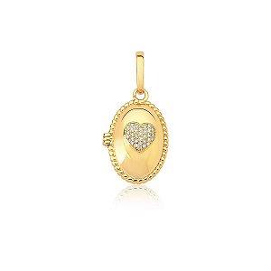 Pingente Relicario Oval coracação microcravejado banhado ouro