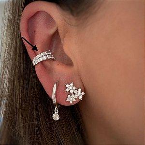 Piercing 2 fileiras zirconias prata 925