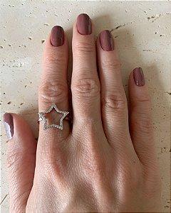 Anel estrela vazado cravejado prata 925