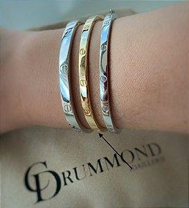 Bracelete Cartier fino prata 925 dourado