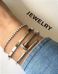 Bracelete Cartier inspired fino prata 925