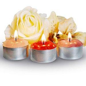 Velas perfumadas rechaud com base de alumínio caixa com 25 velas