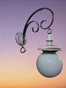 Luminária Artesanal  De Ferro Madeira 1 Lâmpada
