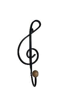 Cabideiro De Ferro Rústico Artesanal 1 Ganchos Nota Musical