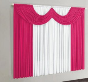 Cortina de Malha para Sala e Quarto 2,00  x 1,70 - Pink/Branco