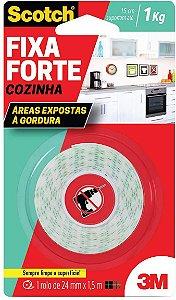 Fita Dupla Face Fixa Forte Cozinha Scotch - 24 mm x 1,5 m - 3M