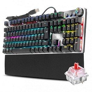 Teclado Mecânico Gamer Karambit Macro Rgb Adamantiun Switch Vermelho - AK-2000v