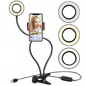 Iluminador Ring Light Suporte Articulado de Mesa para Celular Smartphone Com Controle XZ - Cp1594/tx0952