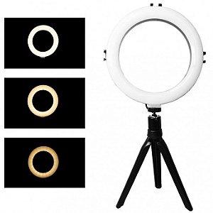 Iluminador Ring Ligth 8 Polegadas para Foto e Video 72 Leds Dimelizavel 3200k a 5600k Com Tripe Exbom - Ilum-r08w8
