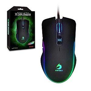 Mouse Gamer USB Led RGB DPI 6400 e Botões Laterais XSoldado Infokit - Gm-V550