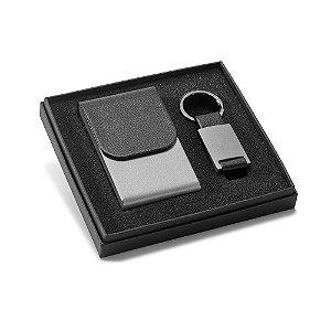 Kit porta cartões e chaveiro em metal personalizado