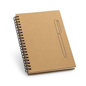 Caderno B6 capa dura. Papel kraft. 70 folhas não pautadas papel pedra de 120 g/m².