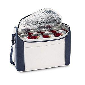 Bolsa térmica nylon 600D. Com alça ajustável em webbing e bolso frontal, Capacidade até 8 Litros
