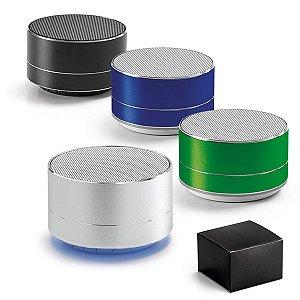 Caixa de som com microfone. Alumínio. Com transmissão por bluetooth e leitor de cartões